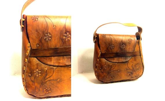 70s Large Bohemian Leather Floral Handbag - Oversized Tooled Chestnut Western Bag