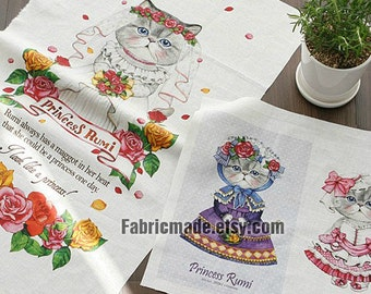 Wedding Cat Cotton Linen Fabric Kids Children Fabric Curtain Quilting Bags Fabric- One panel 140x40cm