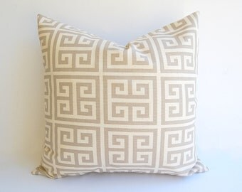 """NEW Throw pillow cover ONE 20"""" x 20"""" cushion cover light gray taupe natural Greek Key Towers"""