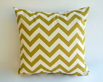 "Chevron throw pillow cover One 16"" x 16"" village green olive green natural pillow cushion cover"