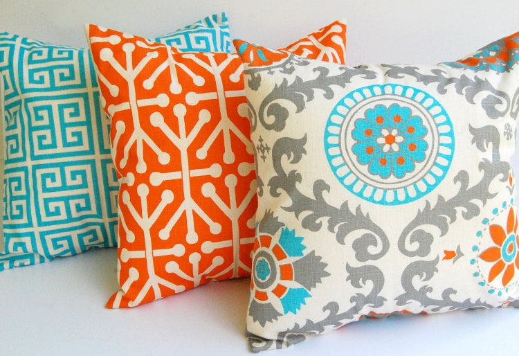 Organic Decorative Pillow Covers : Throw pillow covers set of three Orange Natural by ThePillowPeople