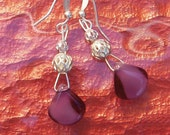 petite purple and silver earrings