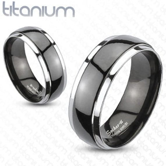 Solid Titanium 2-Tone Black Dome Band Ring - SIZE 9  - only one available - Handstamping available