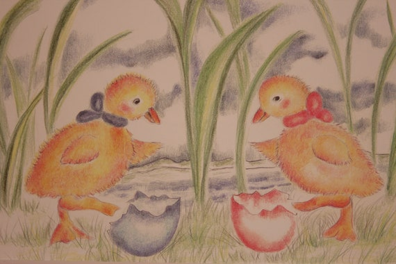Twin Baby Ducks newly hatched illustration Nursery Print