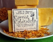 Organic Carrot soap with calendula infused olive oil, babies and sensitive skin, vegan, natural calendula scent