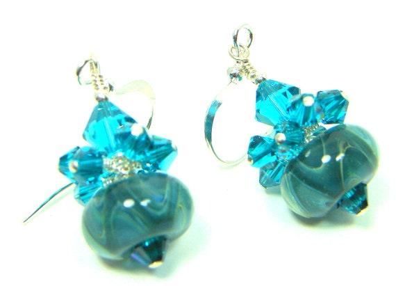 Teal Glass Bead Earrings, Teal Cream Boro Lampwork Bead Earrings, Cluster Lampwork Earrings, Dangle Earrings