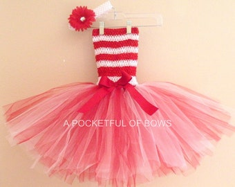 Christmas Red and White Tutu Dress,  Newborn Toddler and Girls Dress
