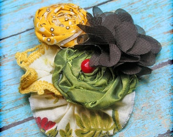 Brown, Mustard Yellow, Lime Green Hair Bow, Fabric Flower Headband, Hair Piece, Clip, Baby Hair Bow, Hair Accessories, Fabric Flower Brooch