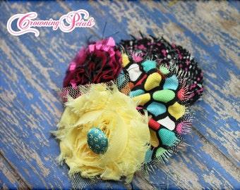 Flower Hair Bow, Black, Yellow, Pink Infant Headband, Baby Girl Hair Accessories, Fabric Flower Brooch, Hair Clip