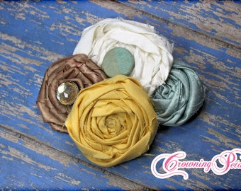 Turquoise, Mustard Yellow, Ivory Headband, Hair Accessories, Cream, Hair Bow, Baby Girl Headband, Aqua, Fabric Flowers Brooch, Hair Piece