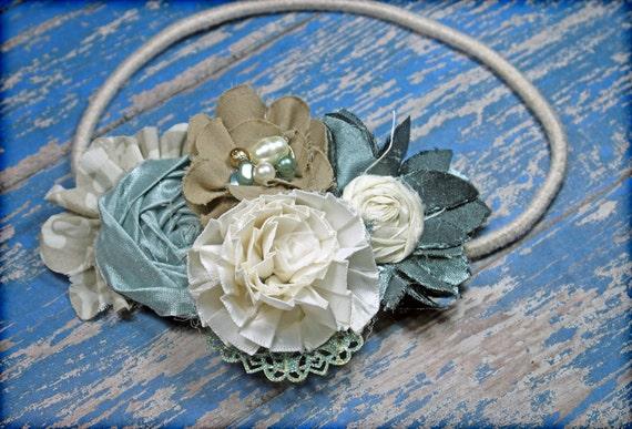 Turquoise, Teal, Tan, Cream Hair Accessory, Hair Bow, Ivory Headband, Baby, Infant Headband, Fabric Flowers, Hair Bow, Fabric Flower Brooch