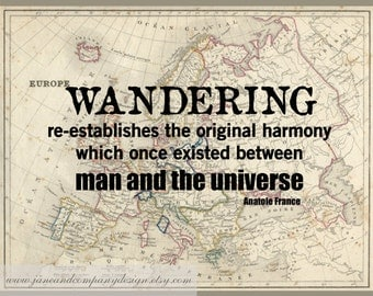 WANDERING HARMONY, Vintage Map Art, Library Decoration, Travel Quote, Literary Art, Literature Poster, 8x10