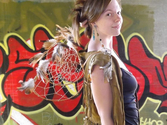 RESERVED FOR SERRINA Halloween Sale ooak Dream Catcher Fairy Wings, Heart of the Desert, Native Style with Genuine Turquoise