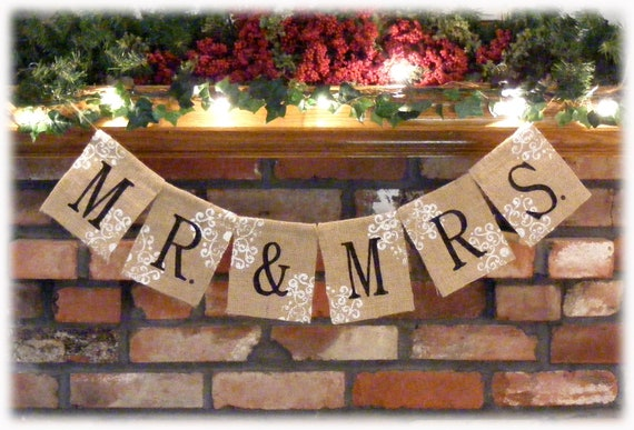 MR & MRS Burlap Banner for your Rustic Wedding - rustic and elegant