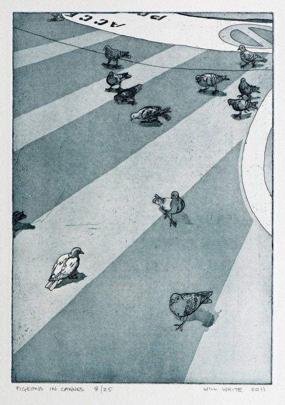 Pigeons in Cannes by William White - Bird Etching - Color Etching - Original Hand Pulled Print -Small Print - Pigeon Etching - FREE SHIPPING