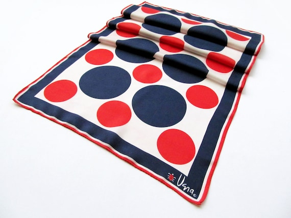 Vera Ladybug oblong scarf red white and blue polka dot 60s Vera Neumann scarf mod red blue polka dot scarf USA Olympics