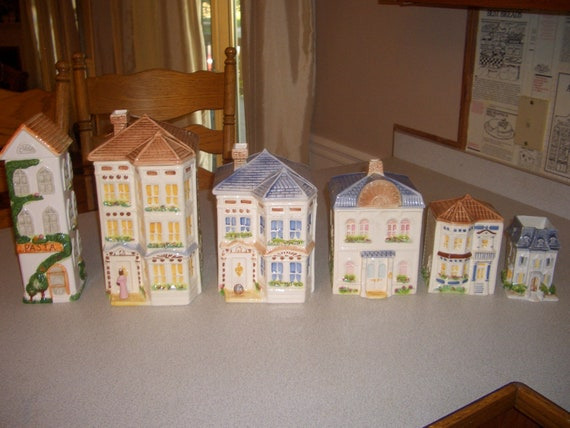 AVON Victorian Townhouse Canister Collections set (sold the pasta house and candle holder separately)