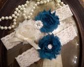 SALE-Wedding Garter - Garters - Ivory Garter Set - Bridal Garter - Toss - Vintage - Bridal Garter - Teal - Green - Blue - Rhinestone - Pearl