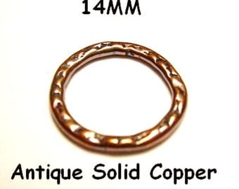 14 MM 10 Pcs. Antique Copper Hammered Link Solid Copper Casting Made In USA