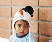 Crochet Baby Hat, Snowman Hat, Christmas Hat, Baby Hat Photo prop