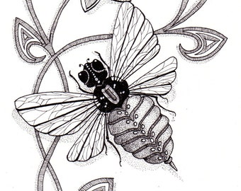 Bee Natural. Beautiful and original whimsical abstract psychedelic stylised Ink drawing illustration bee flower swirls