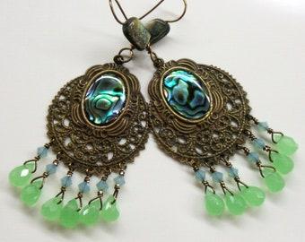 Paua abalone shell chandelier earrings - Green blue crystal brass filigree earrings