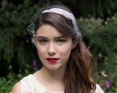 Vintage birdcage Purple goose feather headband with french veil