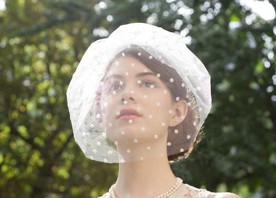 Elegant Single Layer Chin length Blusher Veil in Ivory/Cream Polka Dot Swiss Dot