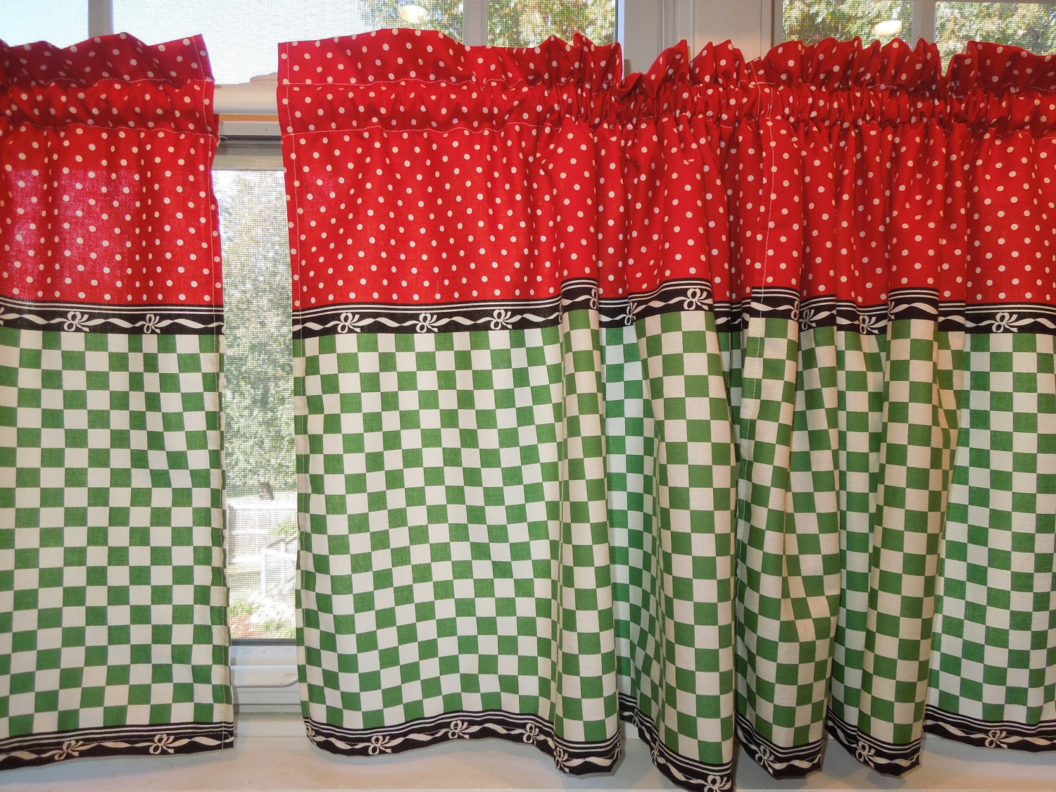 retro kitchen curtains 1950s diner style four panels red