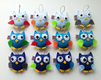 Owl Ornaments, Baby Shower Theme, Woodland Centerpiece, Party Favors, Cute Owl Gift, Baby Mobile Idea, Blue Ombre, Set of 12, MADE TO ORDER