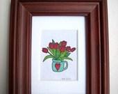 Art Drawing: Small Framed Art, Mixed Media, with Custom Matboard Art - Happy Tulips