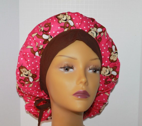 Bouffant Scrub Hat with ties - Laughing Monkey Pink fabric bouffant scrub hat - Ponytail Scrub hat