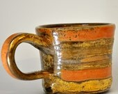 RESERVED: Striped Porcelain Gold Lustred Mug