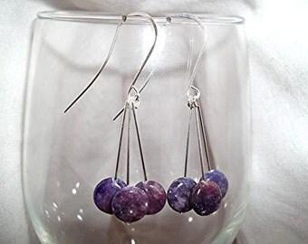 Beautiful Lepidolite Drop Earrings