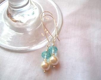 Off White & Light Blue Kidney Wire Earrings