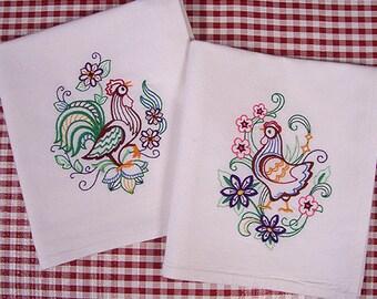Chicken Kitchen Towels Vintage Style Machine Embroidered