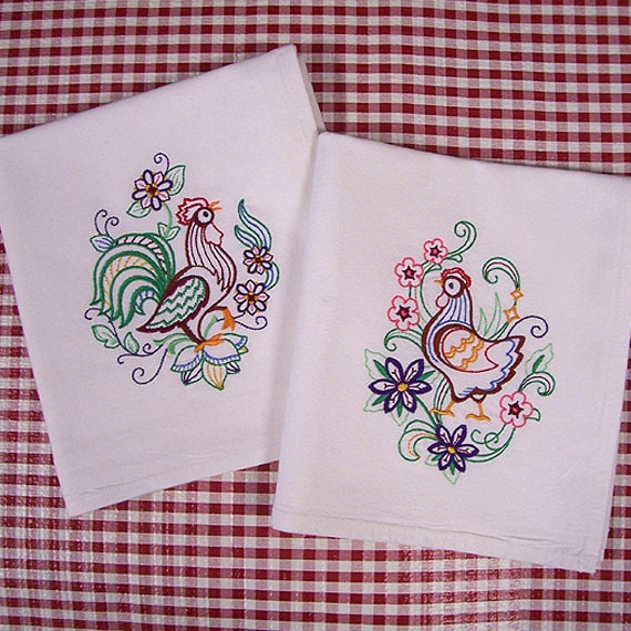 Chicken Kitchen Towels Vintage Style Machine Embroidered