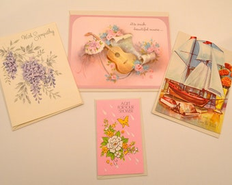 Set of 4 Assorted Unused Vintage Cards, Sympathy Card, Get Well Card, Anniversary Card, Wedding Shower Card, Assorted Greeting Cards