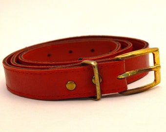 Women's Belt, Cherry Red Vintage Belt, Women's Red Belt, Ladies' Thin Belt