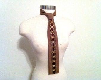 Women's Beige Necktie, Floral Neckwear, Diolen Women's Beige Vintage Necktie, Vintage Scarf