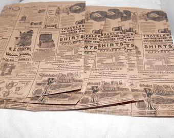100 Vintage 8.5x11 Newsprint Bags, Vintage Newspaper Kraft Party Merchandise Bags,  Favor Bags