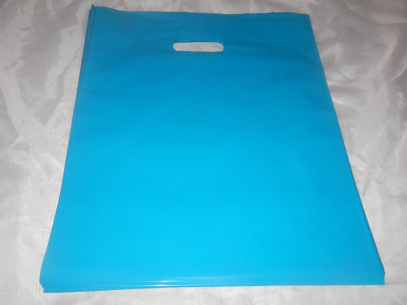 100 Glossy Teal Blue Plastic Merchandise Bags size 12x15 Handle Retail Gift Bags wholesale lot