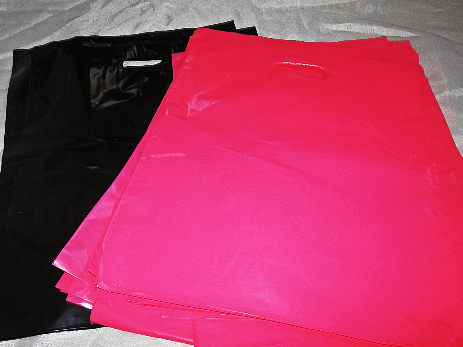 100 12x15 glossy black and pink plastic merchandise bags for 12x15 calculator