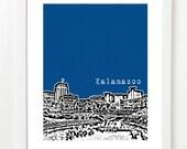Kalamazoo Skyline Poster - City Skyline Series Art Print - Kalamazoo Grad Gift