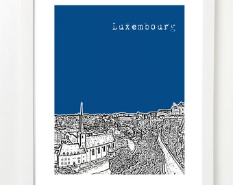 Luxembourg City Skyline Poster - Luxembourg City Skyline Art - Luxembourg Travel Art