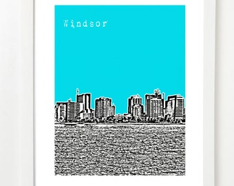 Windsor, Ontario Skyline Art - Windsor  City Art Print - Windsor Poster - Canada -