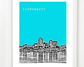Shreveport Louisiana Skyline Poster  - Shreveport Art Print -