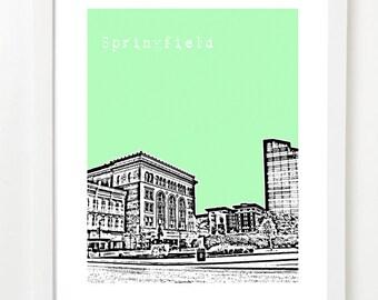 Springfield Ohio Skyline Poster - Springfield Art Print - Springfield Ohio Gifts -