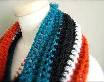 Crochet Black, Teal, Orange, and White NHL, Hockey, Football, Soccer, San Jose Sharks Infinity Scarf, Men's Scarf, Unisex Scarf