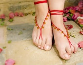 Crochet barefoot sandal. Golden topaz drops red bare foot sandals,  beach wedding barefoot sandal, lolita sexy nude shoes,